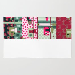 Pink patterned suitcases Rug