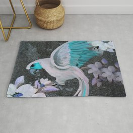 PARROT AND MAGNOLIA IMPRESSION IN BLUE AND LILAC Rug