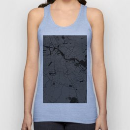 Amsterdam Gray on Black Street Map Unisex Tank Top