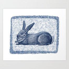 Rabbit print, Vintage Rabbit, Animal Wall Art Art Print