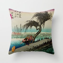 Yokkaichi - Vintage Japanesse Ukiyo e Art Throw Pillow