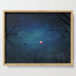 Blood Moon Through Trees Serving Tray