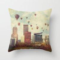portlandia Throw Pillows featuring Portland Oregon Whimsy by Danielle Denham
