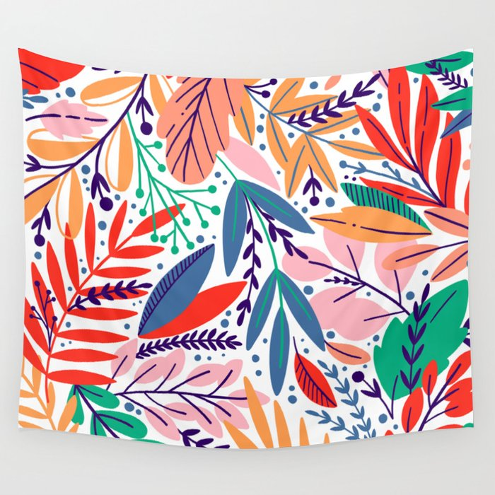 Modern abstract coral forest green floral illustration Wall Tapestry