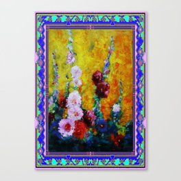 Hollyhock Painting in a Western Style Art Design Canvas Print