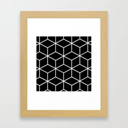 Black and White - Geometric Cube Design II Framed Art Print