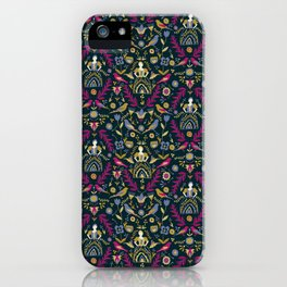 Purple and Gold Folk Milk Maid Pattern iPhone Case