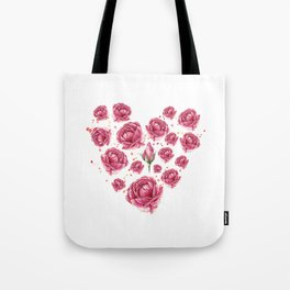 Floral heart of roses Tote Bag