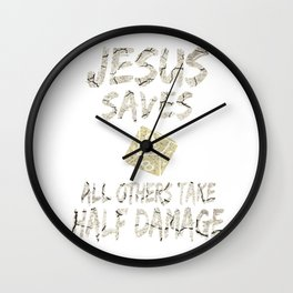 Role Playing Dungeons Gift Funny Jesus Saves For Geeks Gifts Wall Clock