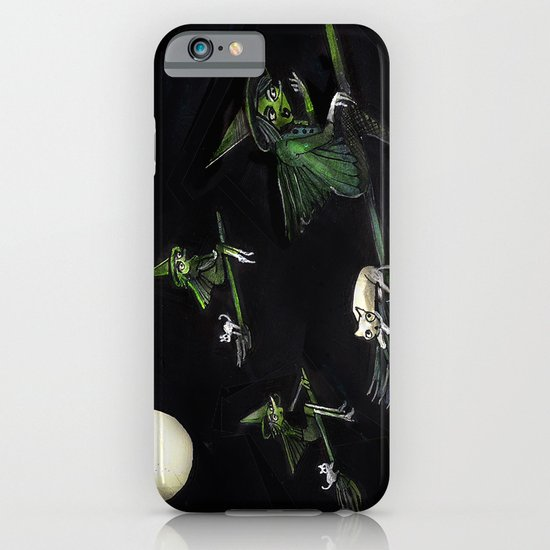 Three Witches on Brooms with the Moon.  iPhone & iPod Case