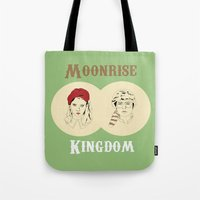 moonrise kingdom Tote Bags featuring Moonrise Kingdom  by Sheena White for Winsome Gallery