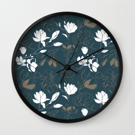 Magnolia flowers Wall Clock