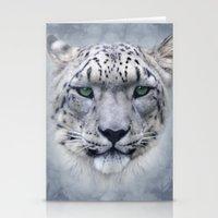 snow leopard Stationery Cards featuring snow leopard by ulas okuyucu