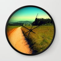 hiking Wall Clocks featuring Hiking on a hot afternoon by Patrick Jobst