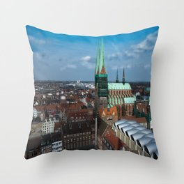 Church in the city Lübeck Germany Throw Pillow