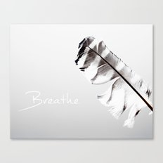 Breathe Inspirational Typography Graphic Design Feather Air Light and airy, Grey, gray  Canvas Print