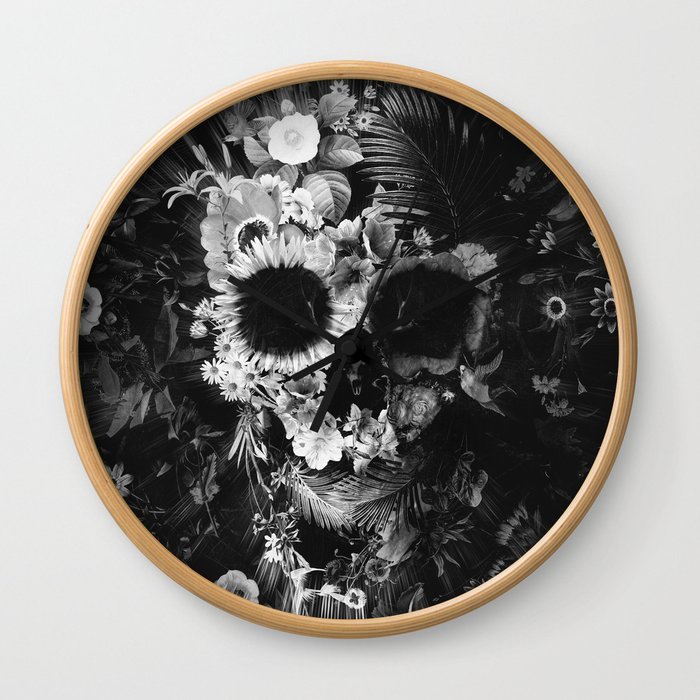 Garden Skull Dark B&W Wall Clock