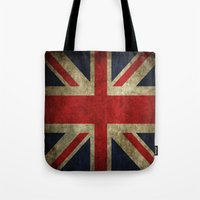 british flag Tote Bags featuring British flag by Beauti Asylum