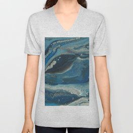 Water Dragon, Abstract Fluid Acrylic Painting Unisex V-Neck