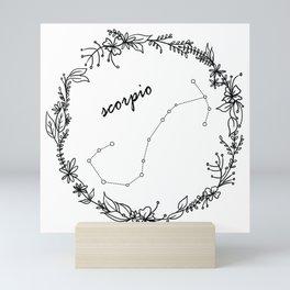 Floral Scorpio Constellation Mini Art Print