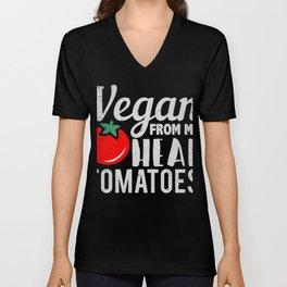 Vegan From My Head Tomato Tee Unisex V-Neck