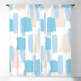 Pastel blue and pink brushstrokes cheerful pattern Blackout Curtain