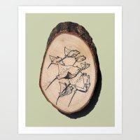 Devil Ray Wood Slice Art Print