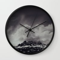 backpack Wall Clocks featuring Mountainscape Black and White by Leah Flores