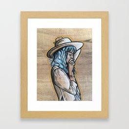 Wooden cowgirl Framed Art Print