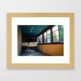 Hospital Bed in Hallway Framed Art Print