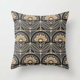 Art Deco Tile Floral (gray and sand) Throw Pillow