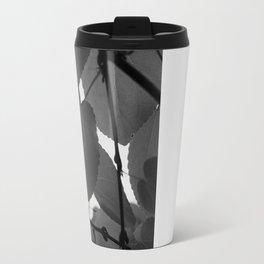 Leaves Black and White Metal Travel Mug