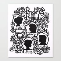 pride and prejudice Canvas Prints featuring Pride & Prejudice Papercut  by eileenlim
