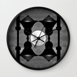 Full Moon Window Grill Artwork - Black and White Wall Clock