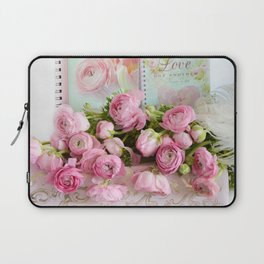 Shabby Chic Cottage Pink Floral Ranunculus Peonies Roses Print Home Decor Laptop Sleeve