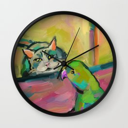 Cat and Parrot Painting, Fauvism Style, Modern Wall Art, loose painting, Impressionism Wall Clock