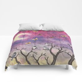chickadees and io moths in the moonlit sky Comforters