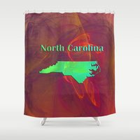 north carolina Shower Curtains featuring North Carolina Map by Roger Wedegis