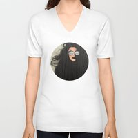 hair V-neck T-shirts featuring Hair by Vin Zzep