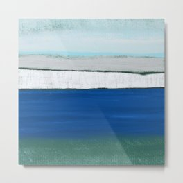 Dover, England, Abstract in Pastel Blue, Grey, Green.  Digital Art Metal Print