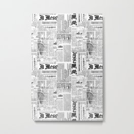 Black And White Collage Of Grunge Newspaper Fragments Metal Print