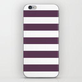 Dark byzantium - solid color - white stripes pattern iPhone Skin