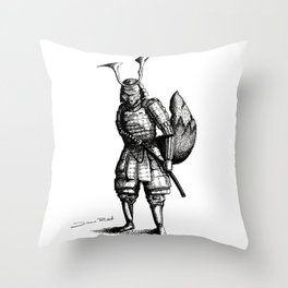 Samurai Fox Throw Pillow