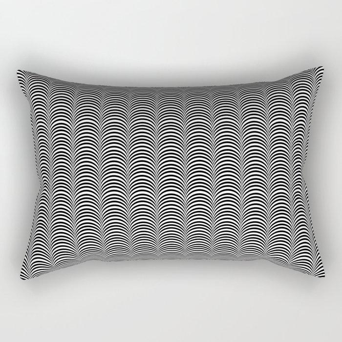 Black and White Scallop Line Pattern Digital Graphic Design Rectangular Pillow
