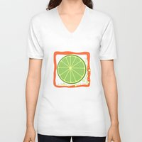 lime V-neck T-shirts featuring LIME by Tanya Pligina