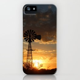 Kansas Windmill Silhouette with colorful clouds iPhone Case