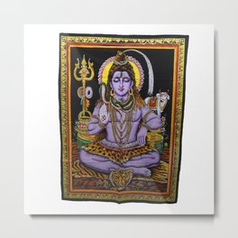 Lord Shiva Meditation Yoga Sequin Wall Hanging Metal Print