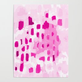 Zimta - pink abstract painting dots mark making canvas art decor Poster