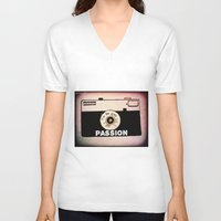 passion V-neck T-shirts featuring Passion by Julia Kovtunyak