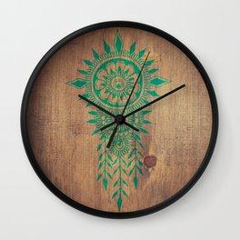 emerald green rustic mandala Wall Clock